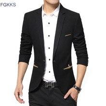 FGKKS бренд весенний мужской блейзер мужской модный приталенный костюм мужской повседневный однотонный костюм блейзеры мужская одежда
