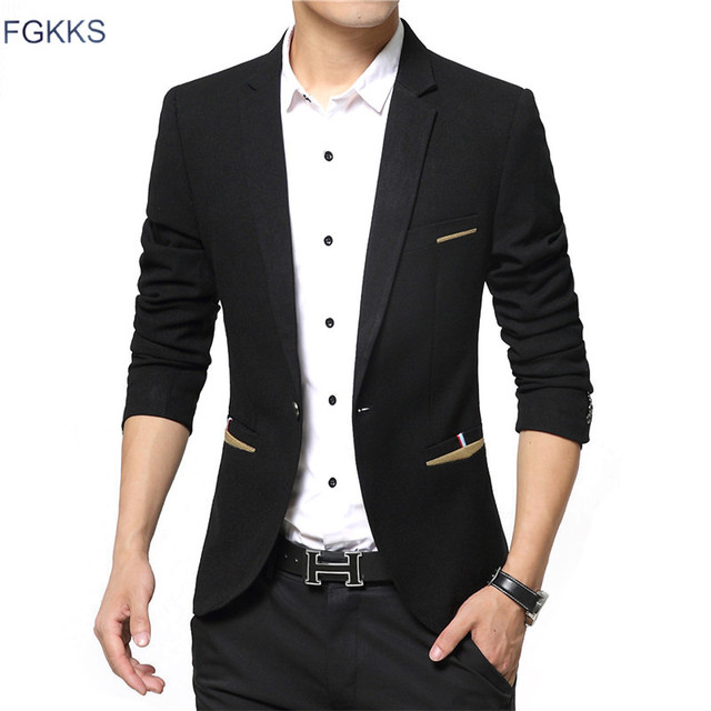 FGKKS 2017 New Brand Spring Masculine Blazer Men Fashion Slim Fit Suit Men Casual Solid Color Suit Blazers Male Clothing