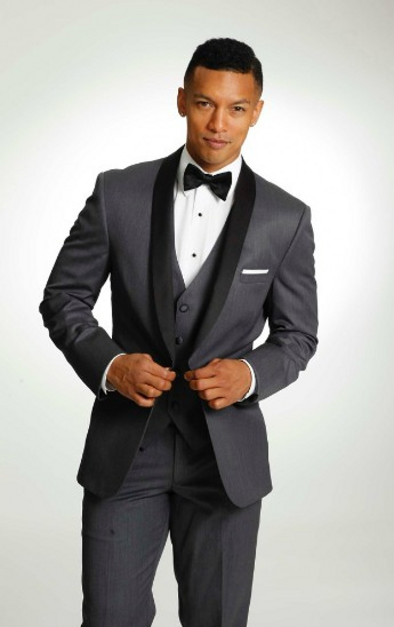 cheap dark grey black men suits groom tuxedos wedding