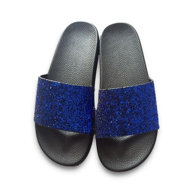 COOLSA New Summer Women's Slippers PU Bling Slides Rivet Flat Soft Bottom Sandals Home Flip Flops Female Tap Casual Beach Shoes