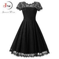 c87688dda70f0b Women Lace Dress Summer Short Sleeve Vintage Dress Pin Up Elegant A Line  Black Party Dresses