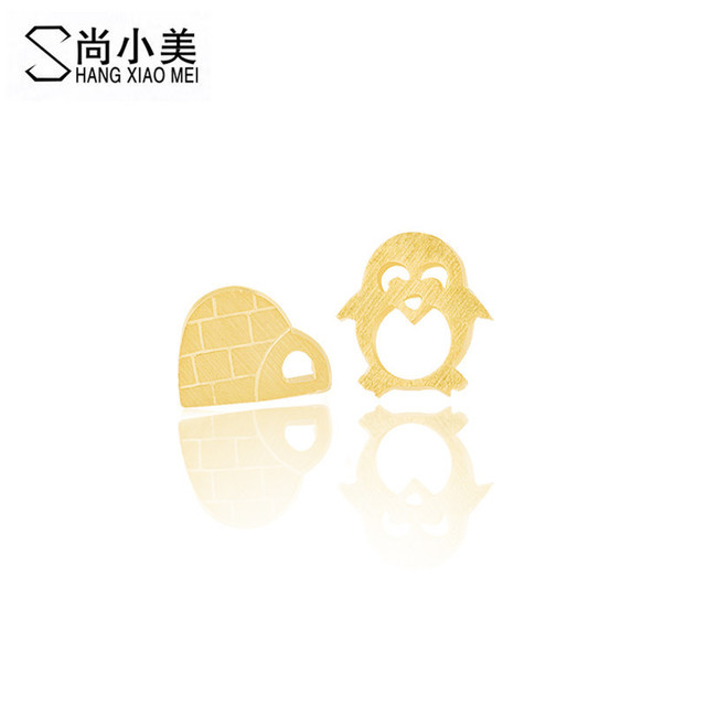 new gold color cartoon penguin igloo stud earrings for women girl gift jewelry stainless steel accessories