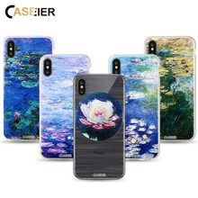 цена CASEIER Water lilies Phone Case For iPhone 6 6s Plus Soft TPU Silicone Coque For iPhone 7 8 Plus X 5 5s SE Monet Painting Shell