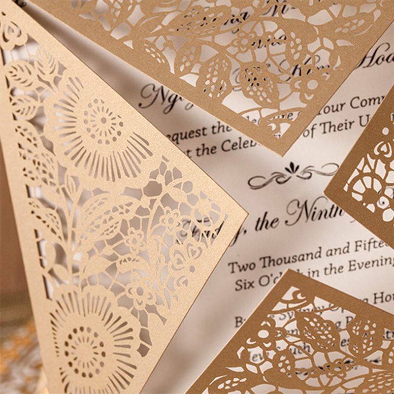 Us 15 5 10sets Design Rustic Gold Wedding Invitations Laser Cut Invitation Cards With Insert Paper Blank Card Envelope Free Shipping In Cards