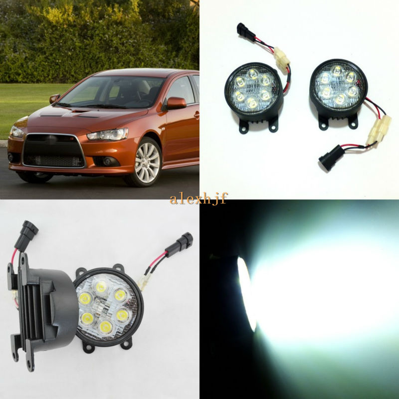 ФОТО July King 18W 6LEDs H11 LED Fog Lamp Assembly Case for Mitsubishi Lancer 2010~2015 etc, 6500K 1260LM LED Daytime Running Lights