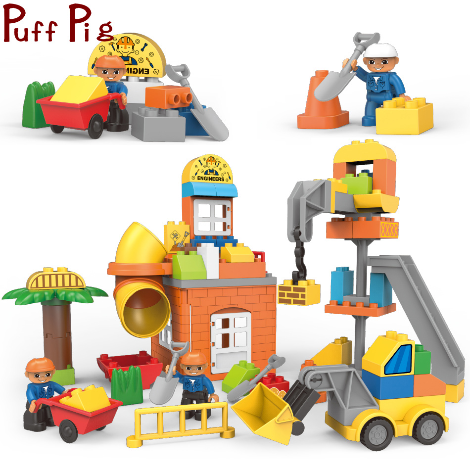 83PCS City Engineer Bulldozer Tractor Car Big Size Building Blocks Figures Brinquedo legorreta Duploe Construction Toys For Kids83PCS City Engineer Bulldozer Tractor Car Big Size Building Blocks Figures Brinquedo legorreta Duploe Construction Toys For Kids