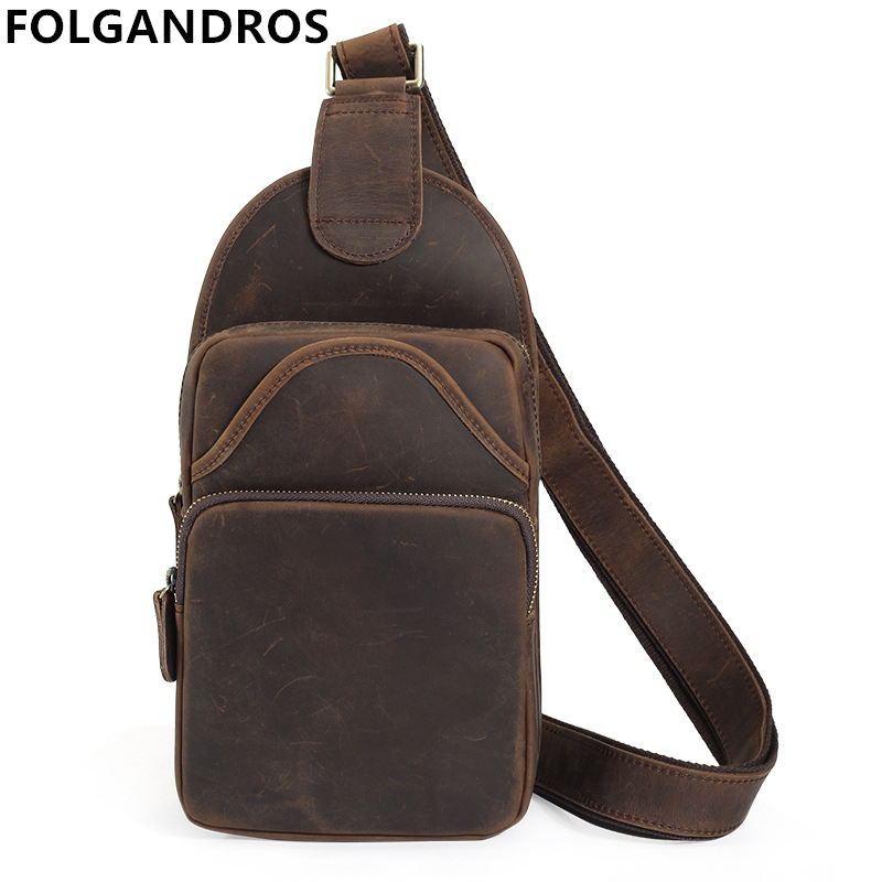 2017 Vintage Cow Leather Chest Bag Men Unbalance Shoulder Crossbody Bag Versatile Cool Sling Chest Bags Simple Daypack Bolsos2017 Vintage Cow Leather Chest Bag Men Unbalance Shoulder Crossbody Bag Versatile Cool Sling Chest Bags Simple Daypack Bolsos