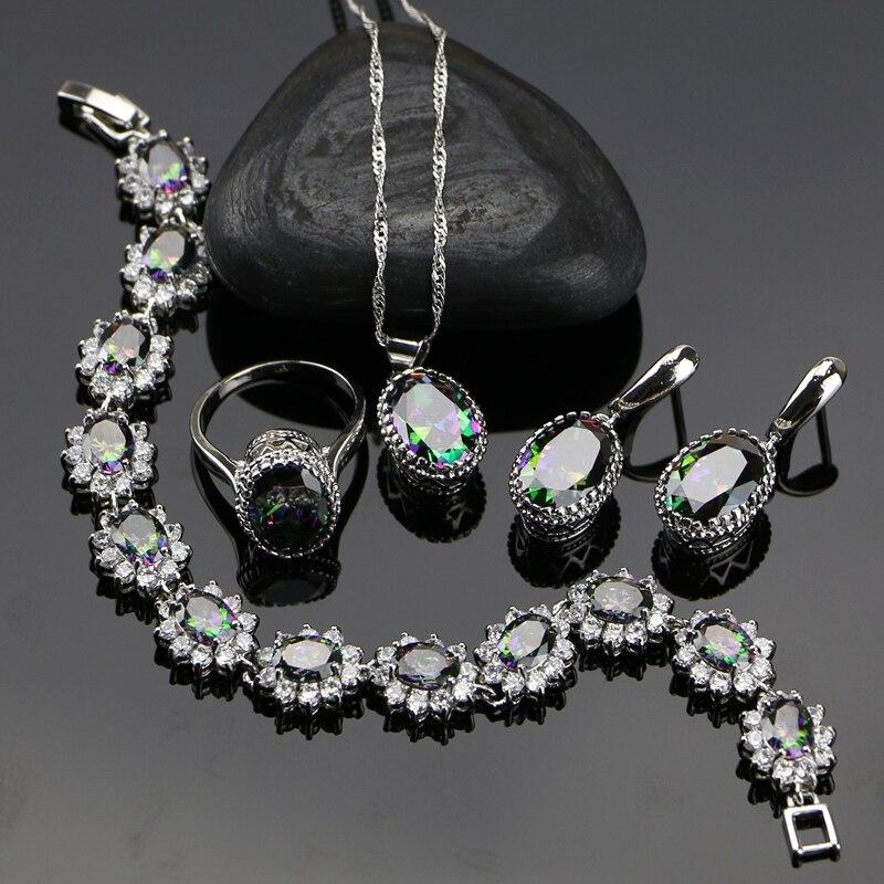 Mystic 925 Sterling Silver Dámské šperky Sady s Rainbow Fire Cubic Zirconia Přívěsek / Náušnice / Prsten / Náhrdelník / Náramek Dárková krabička
