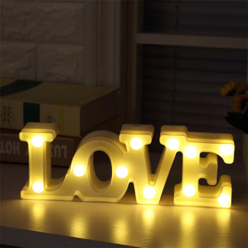 Big LOVE Alphabet Lights Romantic wedding party bedroom decoration night lamps Plastic Letter standing hanging lighting love