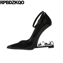 Pointed Toe Patent Leather  High Heels Ankle Strap Novelty Shoe