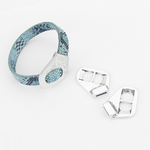 5pcs Antique Silver 10x2mm Hole Buckle Clasp Bracelet Findings For 5mm - 10mm Flat Leather Cord