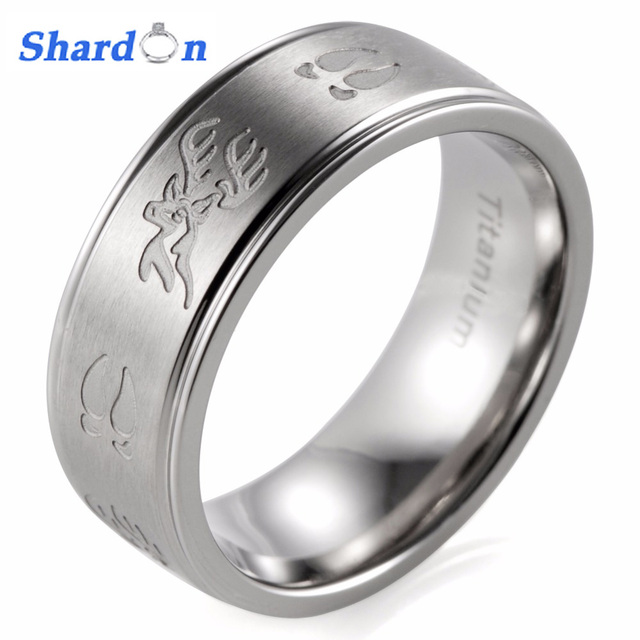 Shardon Engagement Rings Gent S 8mm Edged Anium Deer Head Tracks Outdoor Hunting Wedding Band With Matte Finishing