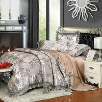 Classcal European Style Leaves Gray Silver Linens 4 6pcs Cotton Silk Jacquard Queen King Size Duvet