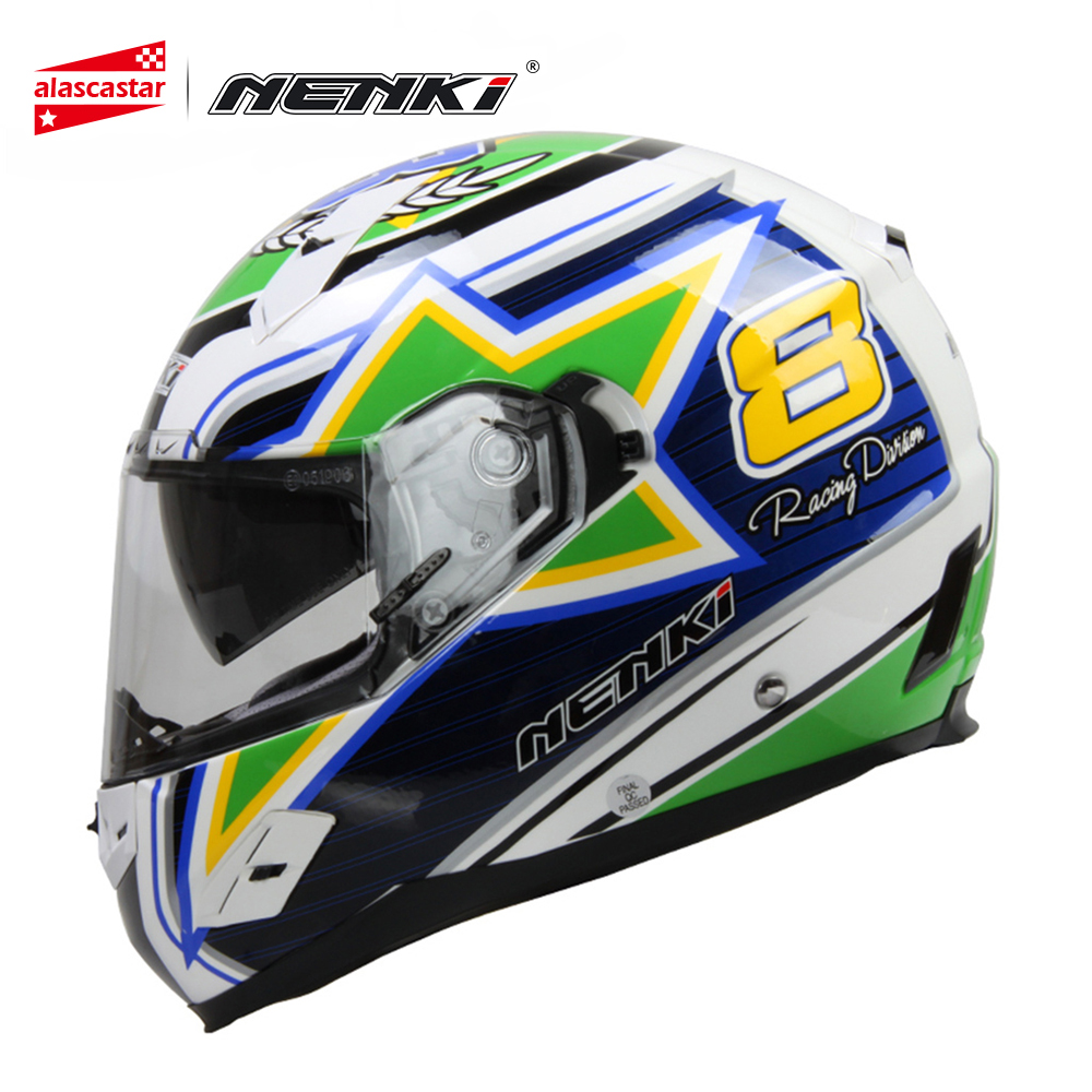 NENKI Motorcycle Helmet Road Moto Full Face Helmet Street Bike Racing Motorbike Riding Helmet with Dual Visor Sun Shield Lens цена