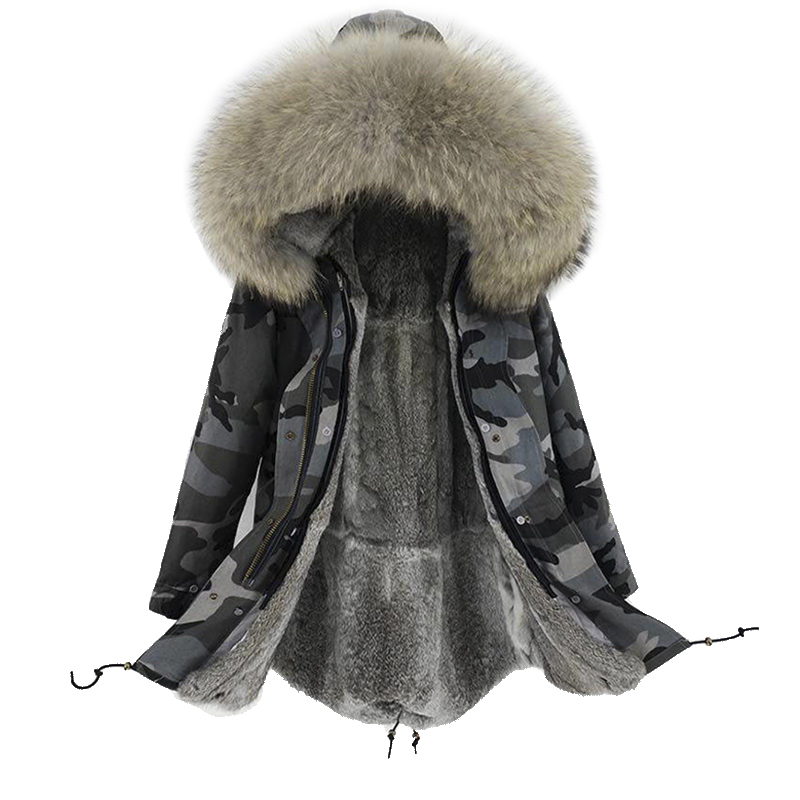 2018 new arrival women winter natural rabbit fur lining long jacket coat woman parka fur coat real raccoon fur collar warm