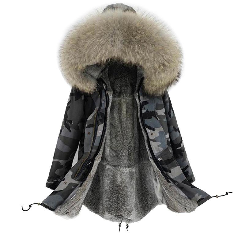 2019 new arrival women winter natural rabbit fur lining long jacket coat woman parka fur coat real raccoon fur collar warm