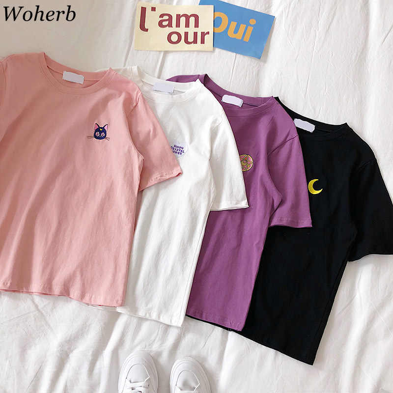 Woherb Japanischen Kawaii Sailor Mond Stickerei T Hemd Frauen 2019 Sommer Casual Kurzarm Cartoon T-shirts Süße Tops 21760