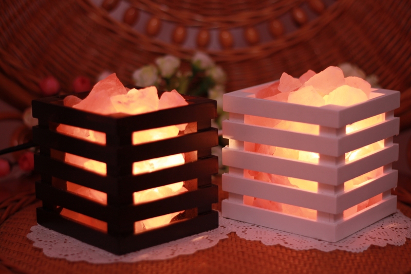Natural Air Purifying Himalayan Tall basket salt lamp with Salt chunks, Bulb and dimmer switch