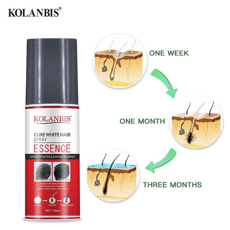 3pcs Hair Oil Permanent Black Hair Serum Organic Herbal Medicine Essence Spray For White Hair Treatment White Removal Anti Gray 3