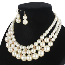 Women Fashion Necklace  / Earrings: Simple simulated Pearl Pendant