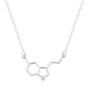 Тодорова молекула серотонина утверждающий кулон Цепочки и ожерелья химии колье воротник Простые ожерелья для Для женщин