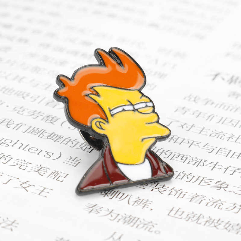 Mqchun Perhiasan Futurama Philip J. goreng Pin Acara TV Pin Bros Keras Enamel Pin Lencana Pinback Bros untuk Pria Wanita
