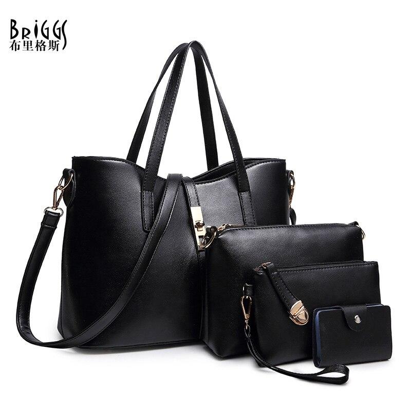 BRIGGS 4 Sets PU Leather Shoulder Bag Women Handbag Lady Messenger Bag Brand Design Office Casual Tote Top-handle Female Purse