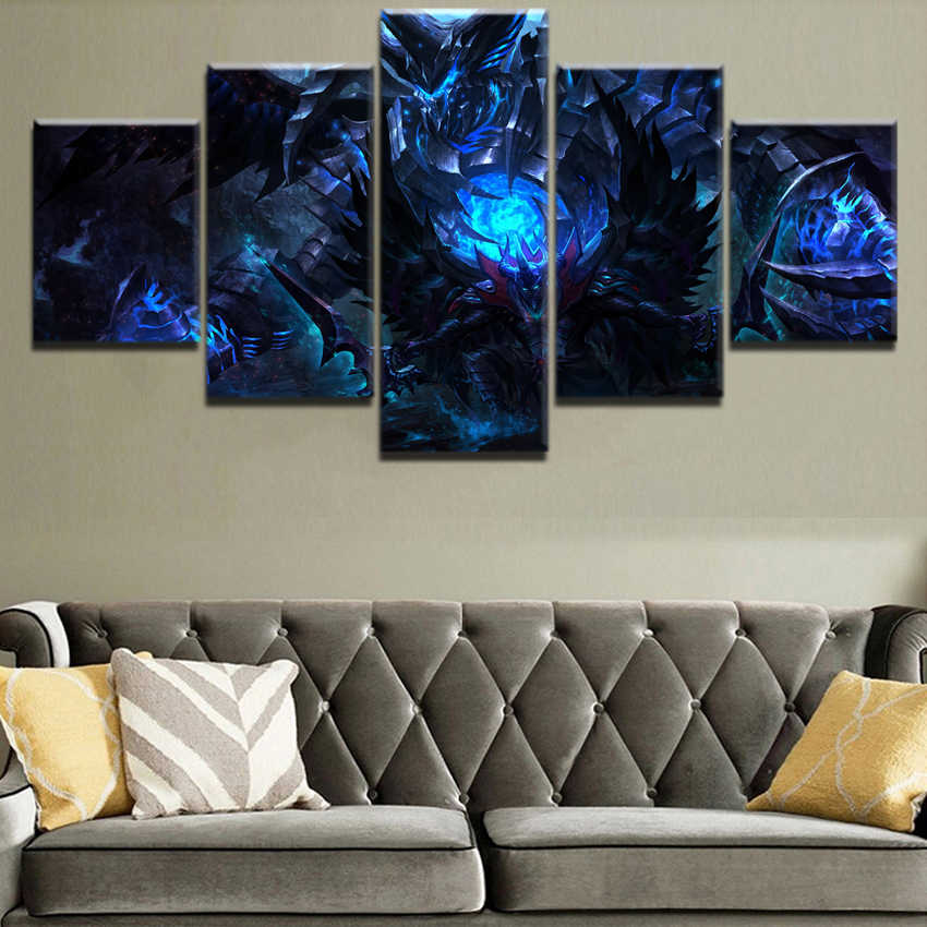 Abstract Painting HD Printed Wall Picture Framework Home Decor 5 Pieces Dark DotA 2 Sword Terrorblade Warrior Canvas Game Poster