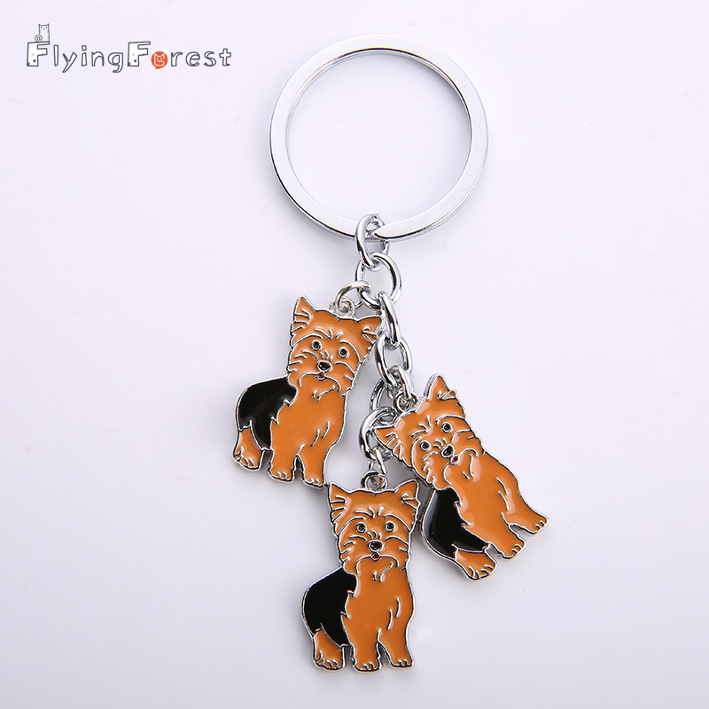 Yorkshire terrier key buckle pet dogs Key chain Alloy Metal Key Ring Pom Gift For Women Girl Bag Charm Keychain Pendant Jewelry
