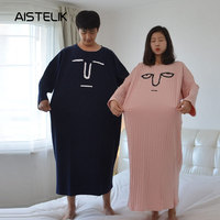 Cartoon funny expression nightdress autumn and winter couples pajamas XL long fat pregnant women long sleeved cotton home servic
