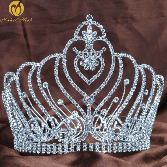 "Royal Round Tiaras Diadem 6"" Clear Crystal Rhinestones Brides Headpiece Hair Jewelry Wedding Bridal Beauty Pageant Prom"