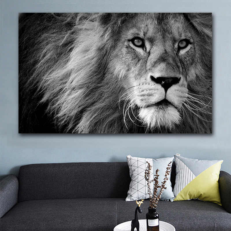 picture canvas painting HD Animal Wall Art Lion Canvas Painting Poster Home Decoration Black white Pictures For Living Room