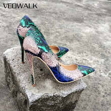 Veowalk Snake Printed Leather Women Sexy High Heels 12/10/8cm Stiletto Fashion Pointed Toe Slip on Pumps Party Shoes for Woman