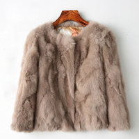 2018, the hot women, the real rabbit fur coat, the natural Rex rabbit fur coat, the fashion super thin rabbit fur leather jacket