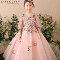 2017 New Sweet Kwwaii Ball Gown Flower Girls Dresses For Wedding Embroidery Floral Pageant First Communion