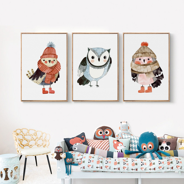 Canvas Posters And Prints Cute Watercolor Owl With Scarf Nursery Art Poster Wall Painting