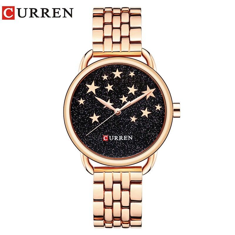 CURREN Hot Sale Popular Womens Watches Creative Quartz Stainless Steel Band Wristwatch Fashion Casual Female Clock reloj mujer