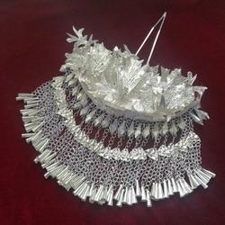The bride dress long fringe front ornament ancient hair braids The bride dress fringe ancient step tiara costume female hair dre