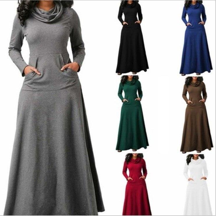 New Autumn Women Long Sleeve Sweatshirt Maxi Dress Vintage Solid Pocket 2019 Casual Cowl Neck Dresses