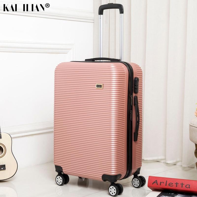 HOT 20/24/28 pouces roulement bagages Sipnner roues ABS + PC femmes valise de voyage hommes mode cabine bagage à main trolley boîte - 2