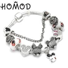HOMOD European Mickey Minnie Charm Bracelet Fits Original Brand Bracelets & Bangle For Women Exquisite Jewelry Gift