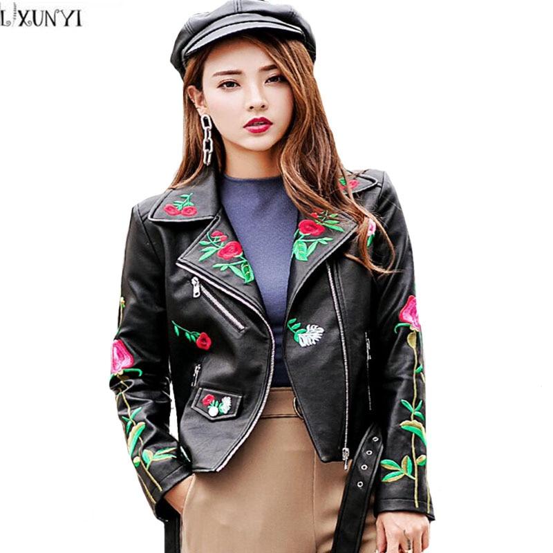 LXUNYI nouveauté automne broderie noir en cuir manteau femmes avec ceinture dames Biker veste femmes en cuir vestes et manteaux
