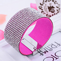 New Arrival Women Pave Crystal Cuff Bracelet Bangles Magnetic Claps Leather Bracelet Fashion Gift B361
