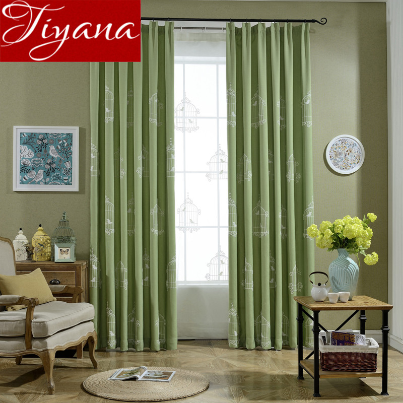 Birdcages Curtains Green Kids Room Embroidered Voile Curtains Window Modern Living Room Curtains Tulle Drapes Fabrics T&008 #30