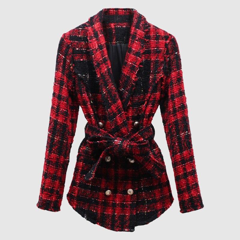 Tweed veste manteau femmes bouton lion rouge plaid carreaux veste manteau double boutonnage haute qualité mode hiver-in Vestes de base from Mode Femme et Accessoires    3