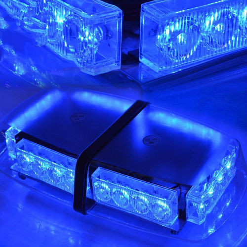 CYAN SOIL BAY Top Roof 24 LED Warning Emergency Beacon Flash Strobe Light Bar Magnetic Blue