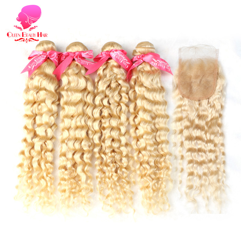 QUEENBEAUTY 2 3 4 Bundles and 4x4 Lace Closure Blonde Remy Human Hair Weave 613 Color
