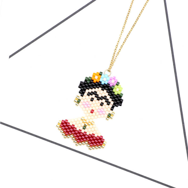 FAIRYWOO Mexico Lady Flower Pendant Necklaces Colliers Fashion Friendship Gifts Necklace Women Miyuki Beads Gold Chain Choker