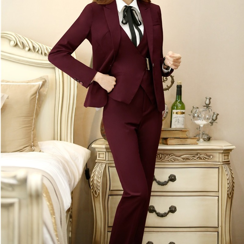 Fashion Wine Formal Uniform Designs   Pants     Capris   Women Business Work Wear Trousers Spring Autumn OL Styles   Pants   Plus Size