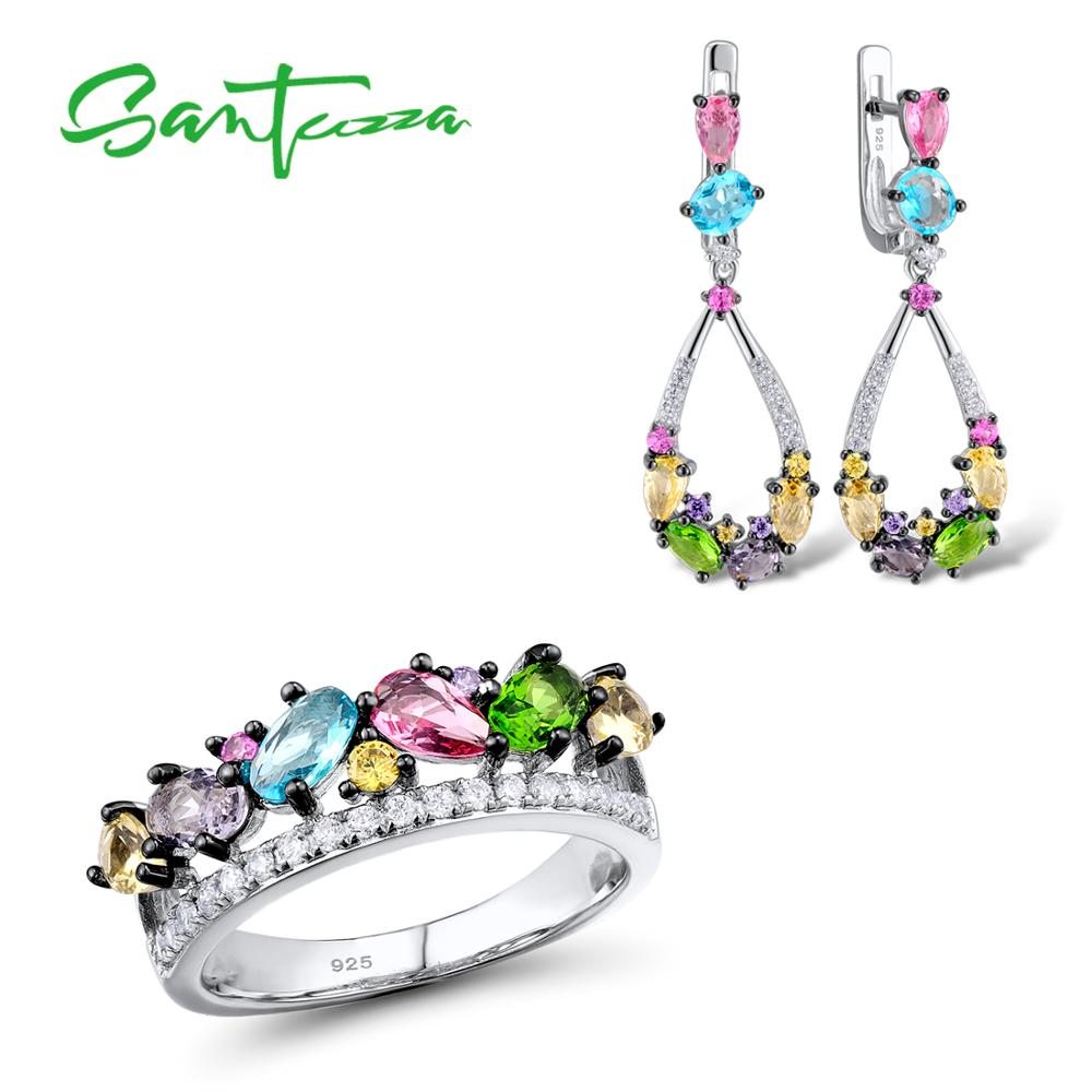 Silver Jewelry Sets For Women Mutil-Color Stones White CZ Earrings Ring Set 925 Sterling Silver Party Fashion Jewelry Set       Silver Jewelry Sets For Women Mutil-Color Stones White CZ Earrings Ring Set 925 Sterling Silver Party Fashion Jewelry Set
